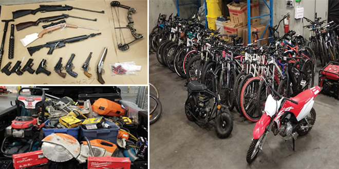 Surrey RCMP Recovers More Than $80k in Stolen Bikes, Power Tools & Weapons