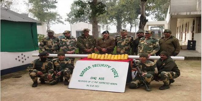 BSF recovers 12 kg heroin near Indo-Pak border